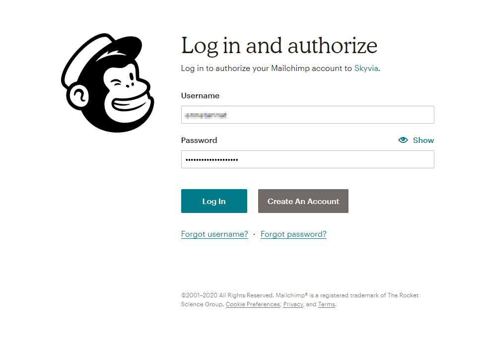 Mailchimp Log In window