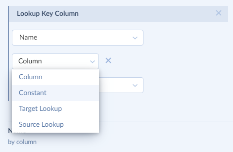 Column drop-down list