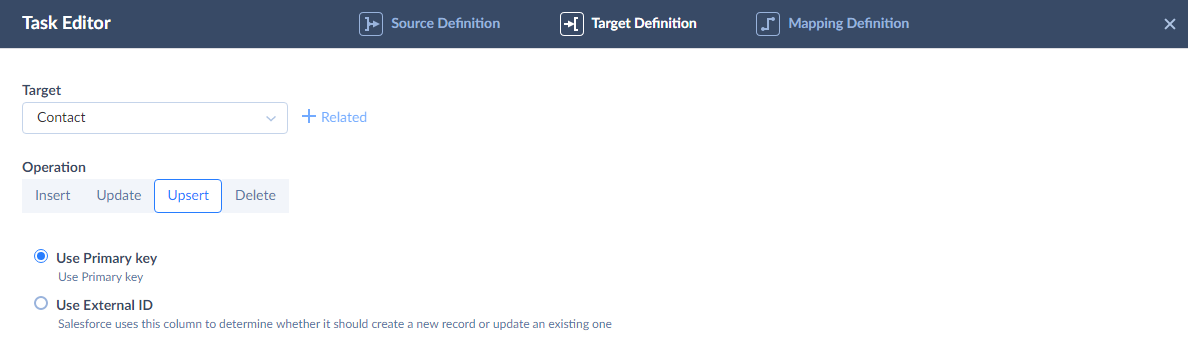 Target Definition tab of Task Editor