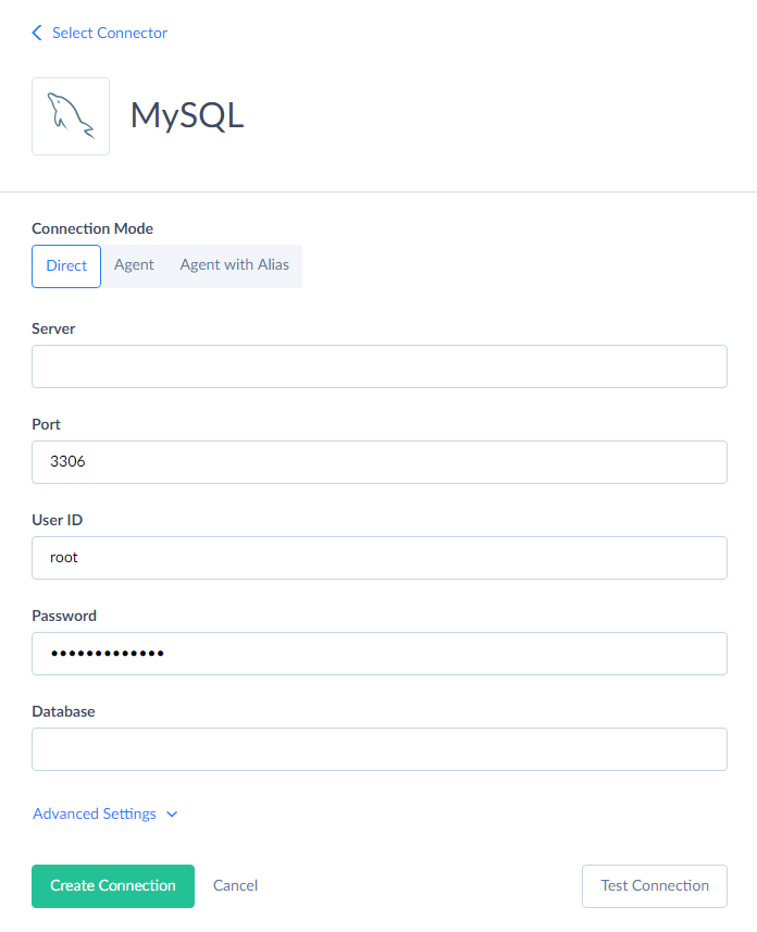 MySQL connection editor