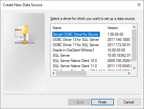 Selecting ODBC driver in the Create New Data Source dialog box