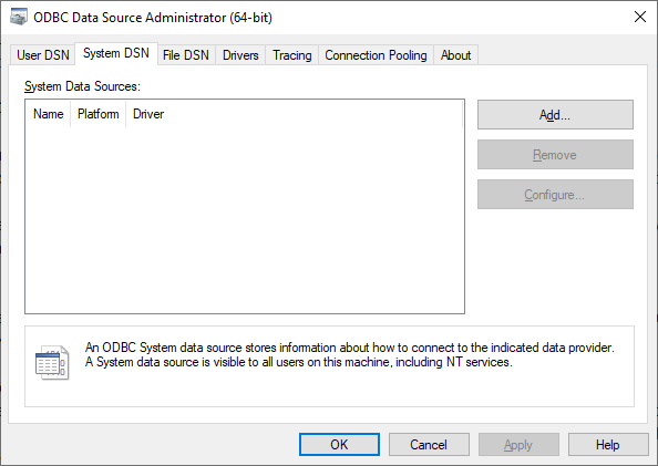 ODBC Data Sources - System DSN tab