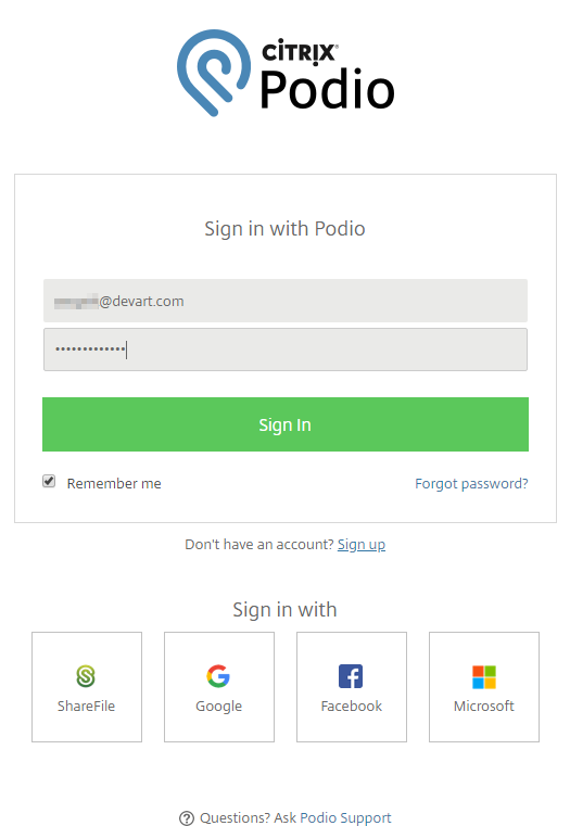 Podio Log In window
